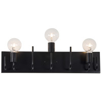 Socket-To-Me 3 Light 23 inch Black Vanity Wall Sconce Wall Light