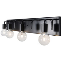 Socket-To-Me 4 Light 31 inch Black Vanity Wall Sconce Wall Light