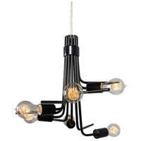 Socket-To-Me 6 Light 19 inch Black Chandelier Ceiling Light