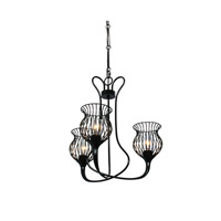 Varaluz Encaged 3 Light Chandelier in Black 222C03BL