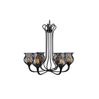 Varaluz Encaged 6 Light Chandelier in Black 222C06BL
