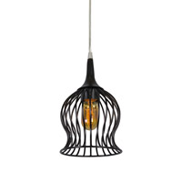 Varaluz Encaged 1 Light Mini Pendant in Black 222M01BL