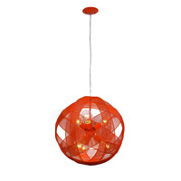 Varaluz At-Mesh-Sphere 6 Light Pendant in Radioactive Tangerine 228P06RT