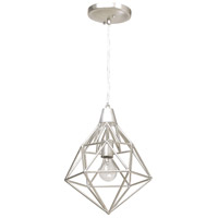 Facet 1 Light 11 inch Silver Leaf Mini Pendant Ceiling Light