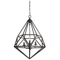 Varaluz Facet 3 Light Pendant in Forged Iron 236P03FI
