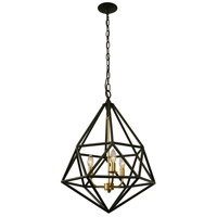 Facet 3 Light 18 inch Forged Iron and Gold Leaf Pendant Ceiling Light