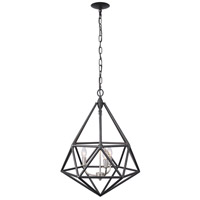 Facet 3 Light 18 inch Forged Iron and Silver Leaf Pendant Ceiling Light