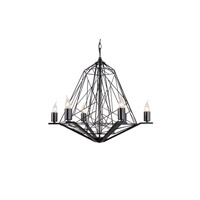 Wright Stuff 6 Light 25 inch Black Chandelier Ceiling Light