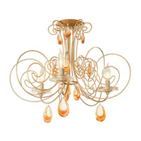 Varaluz Elysse 3 Light Semi-Flush in Gold Dust with Tri-Tone Crystals 238S03GD