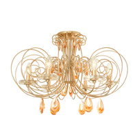 Elysse 6 Light 24 inch Gold Dust Semi-Flush Ceiling Light