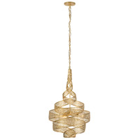 Flow 3 Light 18 inch Gold Leaf Pendant Ceiling Light, Twist, Hand-Forged Recycled Steel
