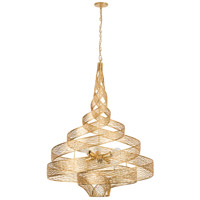 Flow 6 Light 30 inch Gold Leaf Pendant Ceiling Light, Hand-Forged Recycled Steel