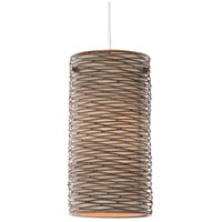 Varaluz Flow 1 Light Mini Pendant in Hammered Ore with Tan Silk Slug Fabric 241M01HO