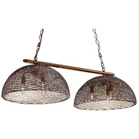Flow 6 Light 42 inch Hammered Ore Linear Pendant Ceiling Light, Double-Shade, Hand-Forged Recycled Steel