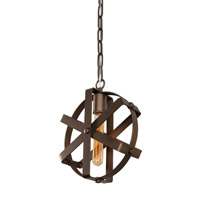 Reel 1 Light 10 inch Rustic Bronze Mini Pendant Ceiling Light