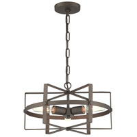 Reel 3 Light 17 inch Rustic Bronze Pendant Ceiling Light