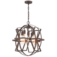 Reel 5 Light 21 inch Rustic Bronze Pendant Ceiling Light