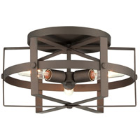 Reel 3 Light 17 inch Rustic Bronze Flushmount Ceiling Light
