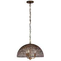 Flow 3 Light 18 inch Hammered Ore Pendant Ceiling Light, Dome, Hand-Forged Recycled Steel