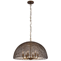 Flow 6 Light 24 inch Hammered Ore Pendant Ceiling Light, Dome, Hand-Forged Recycled Steel
