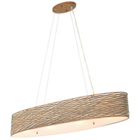 Varaluz Flow 4 Light Linear Pendant in Hammered Ore with Tan Silk Slug Fabric and Acrylic Diffuser 247N04HO