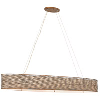 Varaluz Flow 6 Light Linear Pendant in Hammered Ore with Tan Silk Slug Fabric and Acrylic Diffuser 247N06HO