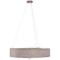 Flow 6 Light 30 inch Hammered Ore Pendant Ceiling Light, Drum, Hand-Forged Recycled Steel