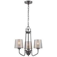 Meridian 3 Light 19 inch Black Chrome Chandelier Ceiling Light