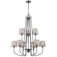 Meridian 9 Light 31 inch Black Chrome Chandelier Ceiling Light