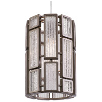 Varaluz Hemingway 1 Light Mini Pendant in New Bronze with Textured Ice Glass 255M01NB