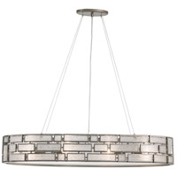 Varaluz Hemingway 4 Light Linear Pendant in New Bronze with Textured Ice Glass 255N06NB