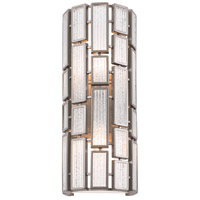 Varaluz Hemingway 2 Light Vanity Wall Sconce in New Bronze with Textured Ice Glass 255W02NB