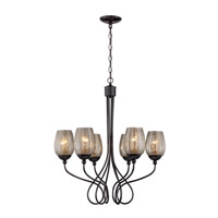 Varaluz Emma 6 Light Chandelier in Black Chrome with Mercury Glass 256C06BC