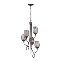 Varaluz Emma 5 Light Chandelier in Black Chrome with Mercury Glass 256F05BC