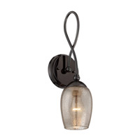 Varaluz Emma 1 Light Wall Sconce in Black Chrome with Mercury Glass 256K01BC
