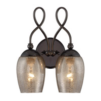 Varaluz Emma 2 Light Wall Sconce in Black Chrome with Mercury Glass 256K02BC