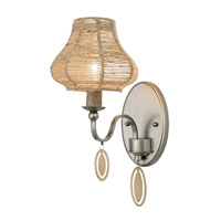 Varaluz Haven 1 Light Vanity Wall Sconce in New Bronze with Abaca Fiber Abaca Fiber 257B01NB