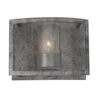 Varaluz Jackson 1 Light Vanity Wall Sconce in Antique Silver with Recycled Arched Window Pane Glass 259B01AS
