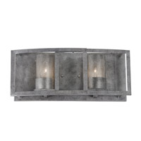 Varaluz Jackson 2 Light Vanity in Antique Silver with Recycled Arched Window Pane Glass 259B02AS