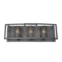Varaluz Jackson 3 Light Vanity in Antique Silver with Recycled Arched Window Pane Glass 259B03AS