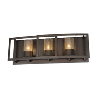 Varaluz Jackson 3 Light Vanity in Rustic Bronze with Recycled Arched Window Pane Glass 259B03RB