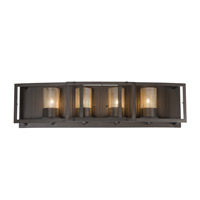 Varaluz Jackson 4 Light Vanity in Rustic Bronze with Recycled Arched Window Pane Glass 259B04RB