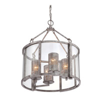 Varaluz Jackson 4 Light Chandelier in Antique Silver with Recycled Arched Window Pane Glass 259C04AS