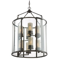 Jackson 8 Light 22 inch Rustic Bronze Foyer Pendant Ceiling Light, Recycled Arched Window Pane Glass