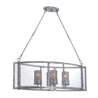 Varaluz Jackson 4 Light Linear Pendant in Antique Silver with Recycled Arched Window Pane Glass 259N04AS