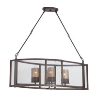Varaluz Jackson 4 Light Linear Pendant in Rustic Bronze with Recycled Arched Window Pane Glass 259N04RB