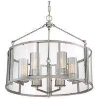 Jackson 6 Light 26 inch Antique Silver Pendant Ceiling Light, Drum, Recycled Arched Window Pane Glass