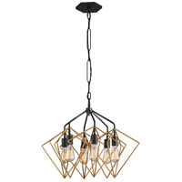 Varaluz 261P06AGRB Metropolis 6 Light 26 inch Antique Gold and Rustic Bronze Pendant Ceiling Light