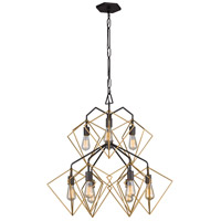 Metropolis 9 Light 32 inch Antique Gold and Rustic Bronze Pendant Ceiling Light
