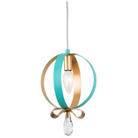 Varaluz 263M01RAQGL Posh 1 Light 7 inch Aqua and Gold Leaf Mini Pendant Ceiling Light